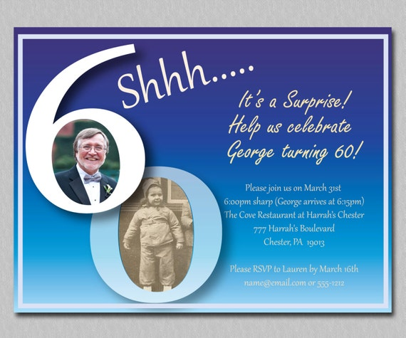 60th Birthday Past And Present Surprise Party Invitation Blue