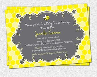 Printable Baby Shower Invitation, Charcoal Grey Gray and Yellow, Honeycomb Boy Girl Honey Bee Buzz DIY digital file