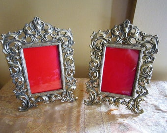 Pair of Vintage Brass Picture Frames, Antique Frames, Ornate Frames, Gold Frames, Vintage Picture Frames, Art Nouveau Frames, Country French