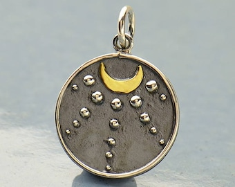 Sterling Silver, Talisman Charm, Moon and Granulation, Talisman Jewelry, Bronze Moon, Moon Jewelry, Charm w Granulation, Silver Talisman