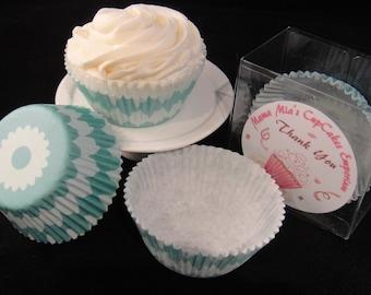 Teal Sunburst Cupcake Liners