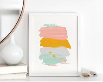 Sunshine Strokes - Printable Wall Art - Pink Yellow Grey Mint Green Acrylic Abstract - Gallery Wall - Girls Room - Office Art