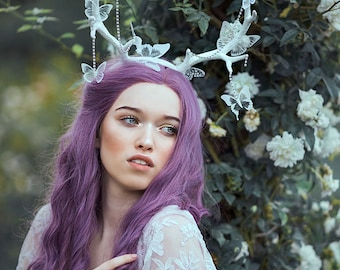 Horns Fairy Antlers headband white butterflies horn headpiece crown faun cosplay