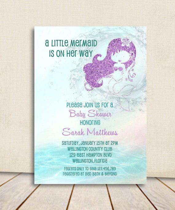 Mermaid Baby Shower Invitation Turquoise And Purple Glitter