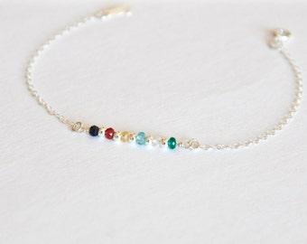 Family birthstone bracelet ~ Style 2