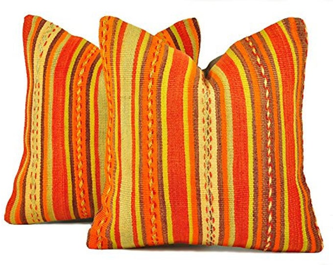 Set of 2 Kilim pillow covers, Kilim Pillow, Turkish Pillow, Kilim Cushions, Kilim, Bohemian Pillow, Turkish Kilim, KP79 (tp9-10)