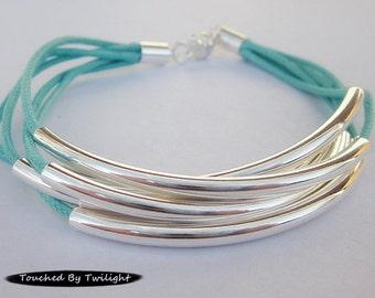 Turquoise & Sliver Noodle Bead Bracelet - Magnetic Clasp - 5 Strands - Bangle Bracelet, Wrap Bracelet