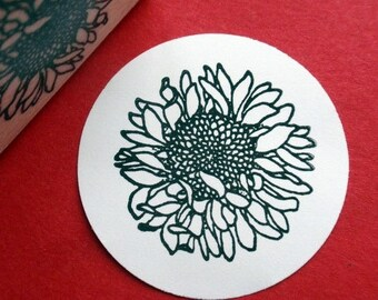 Sunflower Rubber Stamp  - Handmade by BlossomStamps