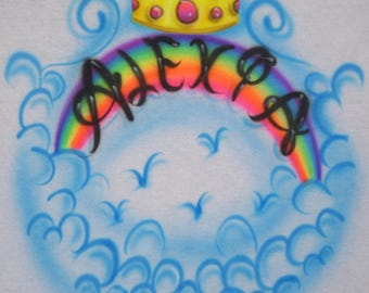 Crown With Rainbow And Clouds Design Custom Airbrush T-Shirt