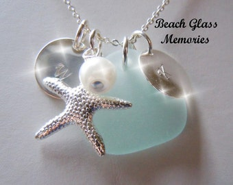 Personalized Sea Glass Necklace Initials Monogrammed Necklace Aqua Starfish Jewelry Necklace