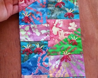 Handsewn crazy quilt, wall art, quilt hanging, batik wall hanging, fabric collage art, small quilt art, embroidered art, gift for her  08