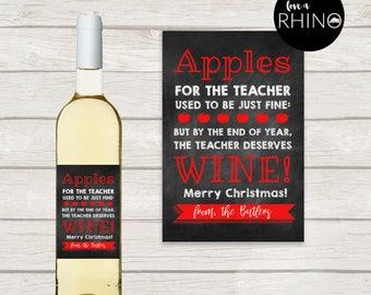 Teacher Christmas Gift Wine Label - Apples For The Teacher - Printed Label