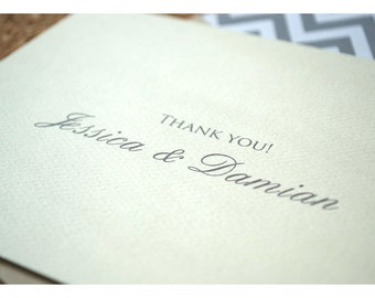 Simple Wedding Thank You Notes - Traditional and Classic Wedding Thank You - Personalized Wedding Thank You Notes