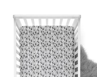 Fitted Crib Sheet Triangles Slate Grey - Crib Sheet - Grey Crib Sheet -Triangle Crib Sheet-Grey Crib Bedding-Baby Bedding-Monochrome Bedding