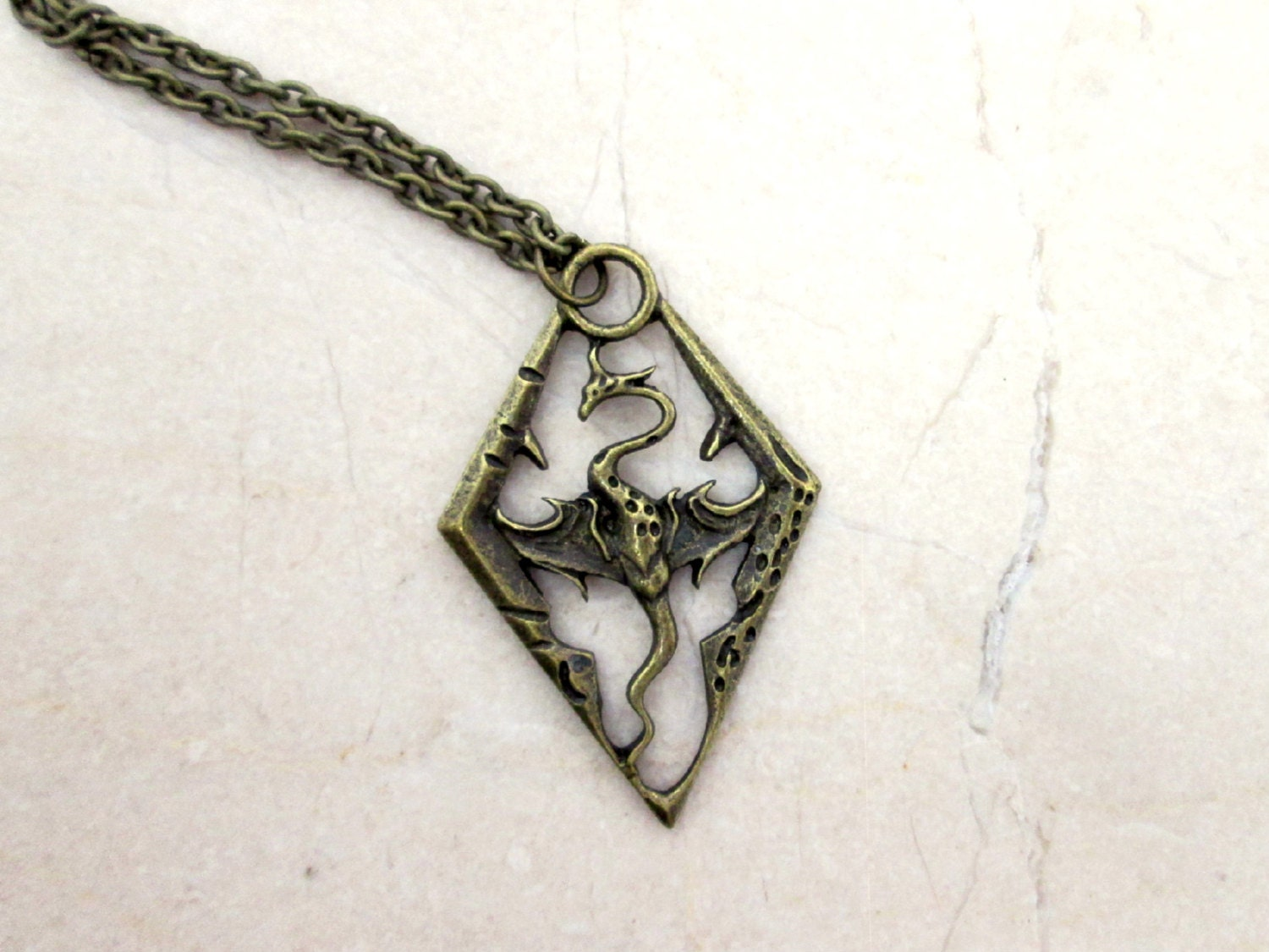 Antique bronze dragon pendant dragon necklace video game for Dragon gifts for men