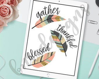 Tribal Feather SVG Bundle, Feather SVG, Gather SVG, Thankful Svg, Blessed Svg, Dxf File, Cricut File, Cameo File, Silhouette File