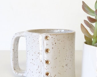 In stock ready to ship Coffee cup mug in 22k gold accent gift handmade ceramic mug with gold button rivet design