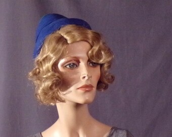 Vintage 1950s Hat - Early 1950s - Blue - New Look - Crowley's Career Girl Detroit-