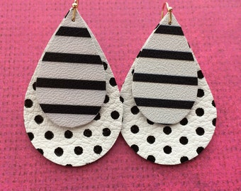 Teardrop leather earrings, black and white striped on white with black dots leather teardrop earrings, black and white teardrops