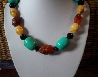 Big chunky colorful handmade Natural Stone necklace