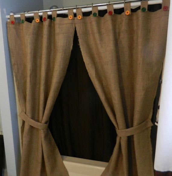 Burlap Tab Shower Curtain or Window Panels / 2