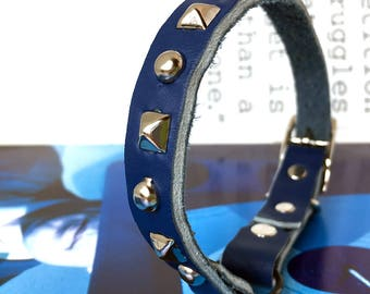 Royal Blue Leather Cat Collar with Silver Studs, Size to fit a 8-10in Neck, Eco-Friendly, Reclaimed Leather, Studded Cat Collar, OOAK
