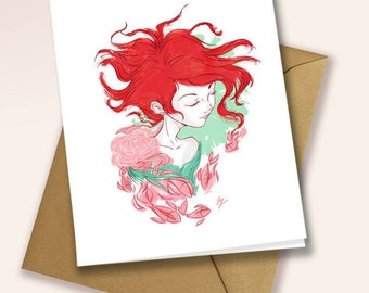 Little Fishes Swimming - blank greeting card