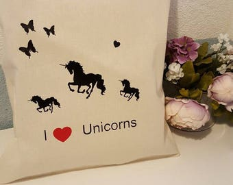 Reusable Tote Bag I love Unicorns