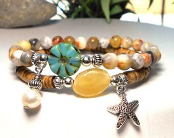 Ocean Jewelry, Beach Bracelet, Beach Jewelry, Starfish, Wood Bracelet, Pearl Bracelet, Boho Bracelet, Ocean, Beach, Gift for Her, Boho Chic