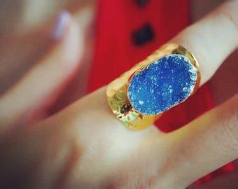 Purple Rain - Gold Plated Druzy Agate Statement Cigar Ring