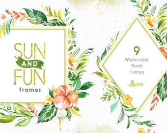 Sun&Fun. 9 Frames. Watercolor summer florals clipart, pre-made templates, flowers, travel, holiday, tropical leaves, trip, sun, pineapple