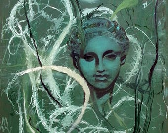 Print 'Green Girl' [painting SOLD] by Pierre Halé