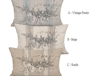 Garland of Roses French Country Farmhouse Grain Sack Style Pillow Cover - 12x18 12x20 12x24 14x20 14x22 14x26 16x20 16x24 16x26 Inch