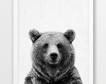 Bear Print, Brown Bear Photo Print, Woodlands Forest Animals Art, Nursery Wall Art, Black White Photography, Kids Room Printable Decor Art
