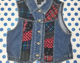 Denim and Flannel Vest