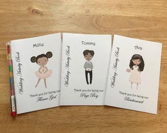A6 Personalised Page Boy, Ring Bearer, Flower Girl or Bridesmaid Wedding Activity Pack, Colouring Book, Favour