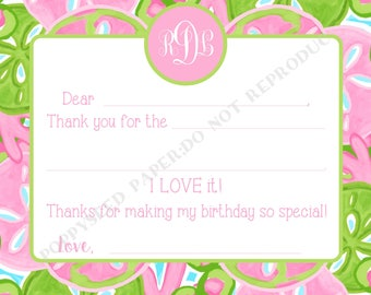 Lilly Pulitzer inspired Fill In Thank You Notes- Kids- Children- Lilly Pulitzer Stationery- Lilly thank you notes, Lilly stationary