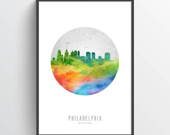 Philadelphia Skyline Poster, Philadelphia Cityscape, Philadelphia Decor, Philadelphia Art, Home Decor, Gift, USPAPH20P