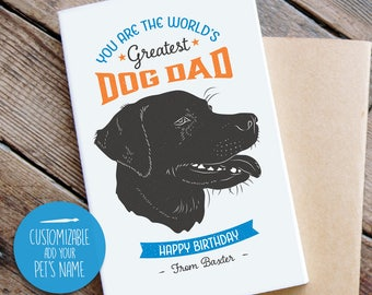 Birthday Card from Dog, Cool Vintage Style, Labrador Birthday Card, Dog Dad Birthday Card, Dog, Greeting Card