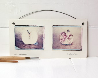 SALE. Apple, Pomegranate.  Polaroid Transfers Printed on Hand Made Fired Clay.  Photographs Printed On Ceramic.