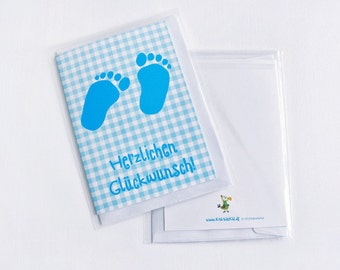 Greeting card for birth or baptism: baby boy