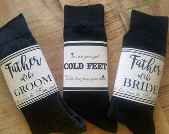 Wedding Cold Feet Sock Wrap, Cold Feet Label, Groom Gift, Father of the Bride Gift, Father of the Groom Gift, groomsmen best man gifts