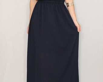 Maxi dress Bridesmaid dress Navy blue Dark blue  Chiffon dress Bohemian clothing Evening dress Prom dress long Keyhole Casual Summer dress