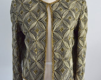 Adrianna Papell Gold & Silver Loopy Chain Embroidered Evening Jacket Cover up Bolero M