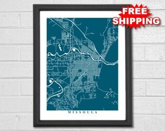 Missoula Map Art - City Map - Montana - Travel - Map Print - Street Map Art - Missoula Map - Custom Map - Montana Map - World Map - Decor