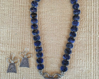 Sodalite Bead and Hills Tribe Stamped Spacer Necklace