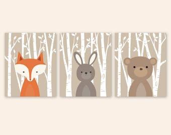 Woodland Nursery Decor, Tan Baby Boy room decor, Forest Animal Prints, Woodland creatures, Forest Friends Fox, Rabbit, Bear