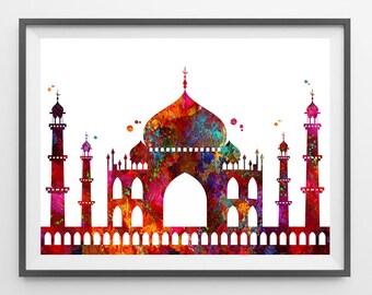 Taj Mahal Art Print Taj Mahal monument watercolor Illustration Taj Mahal Indian mausoleum poster Taj Mahal at Agra India Wall art