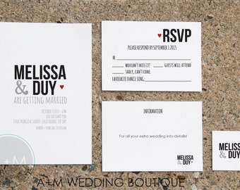 Wedding Invitation set, Classic Wedding Invitation, Printable Invitations, Modern invitation set,  : SIMPLY MELISSA
