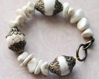 Boho Bracelet, Rustic Bracelet,  Summer Bracelet, Magnesite Nuggets White Turquoise Bracelet, Antiqued Brass Filigree, White Bracelet, SRAJD